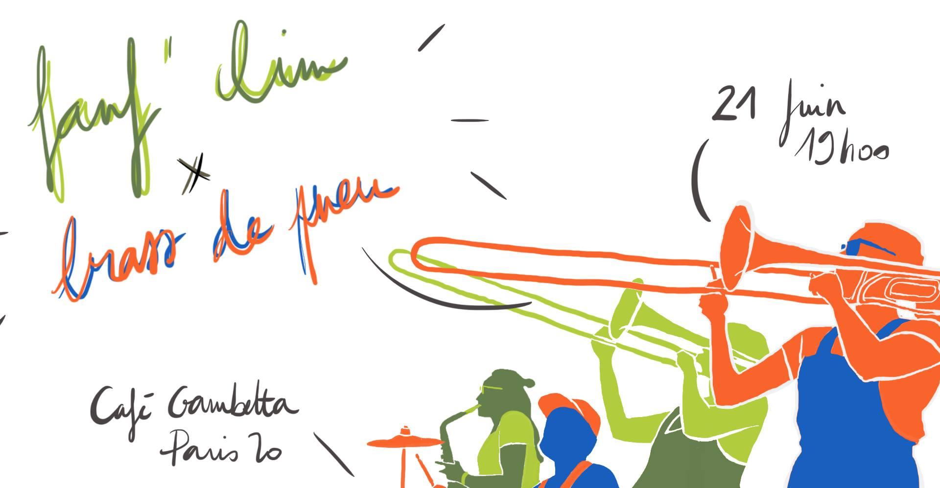 Fete de la Musique à Paris - Fanfare - Brass de Pneu x FanfClim au Café Gambetta
